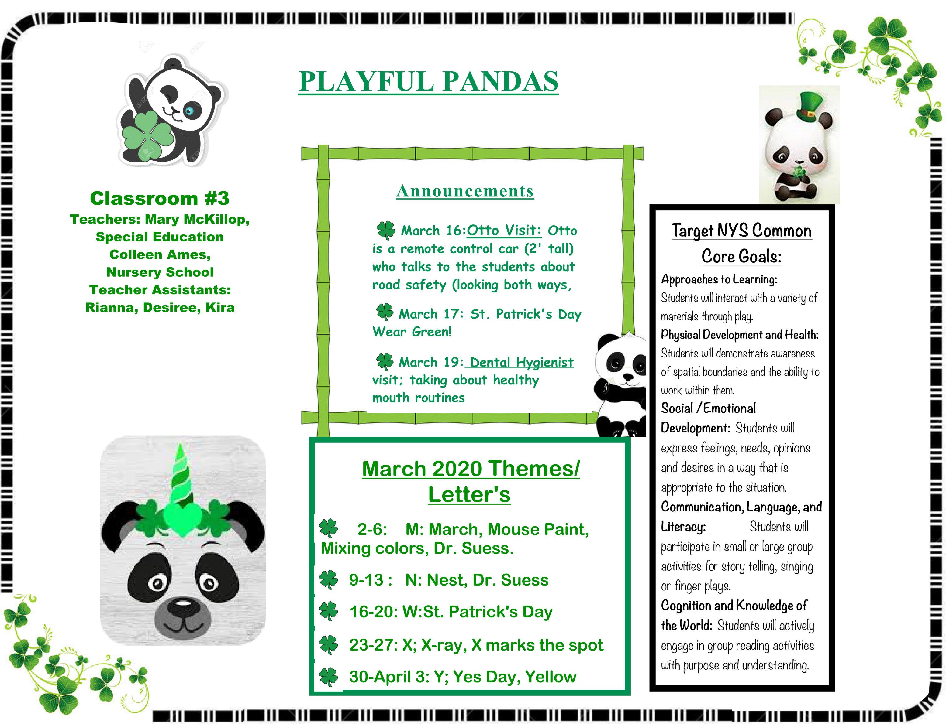 PLAYFUL PANDAS March calendar