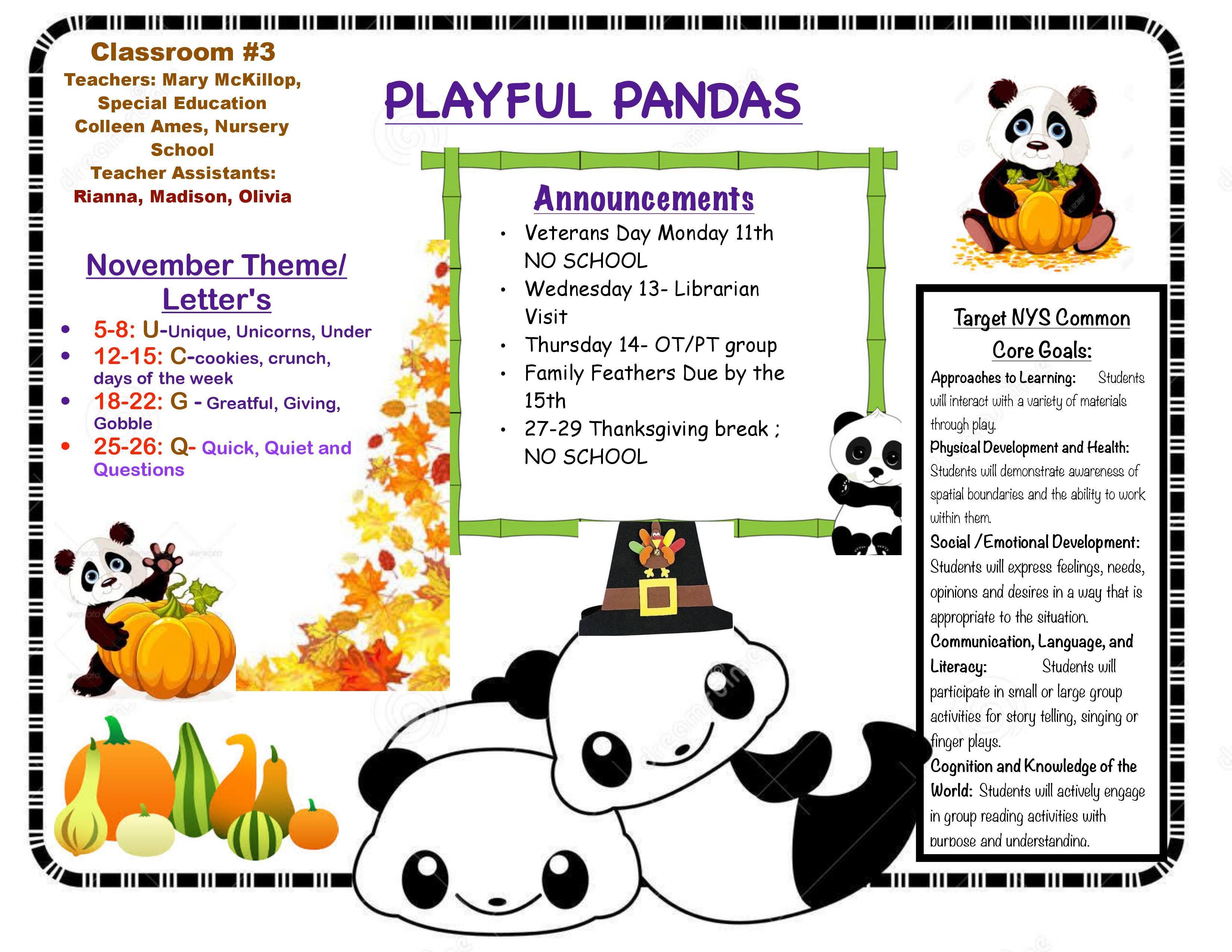 PLAYFUL PANDAS November calendar